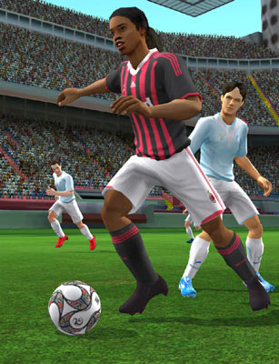 Ronaldinho pushing the ball up the pitch in FIFA Soccer 10