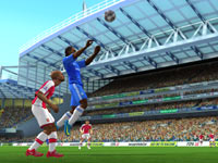 Going for a header in FIFA Soccer 10