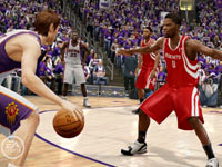 Going for a defensive stop against Steve Nash in 'NBA Live 10' for PSP