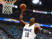 Dwight Howard throwing down a dunk in 'NBA Live 10' for PSP