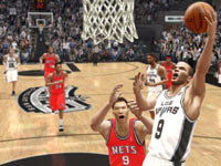 Tony Parker laying it in on the fastbreak against Yi Jianlian in 'NBA Live 10' for PSP
