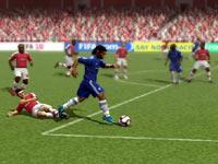 Striking towards the goal in FIFA Soccer 10