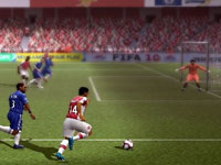 Alone against the goalkeeper in FIFA Soccer 10