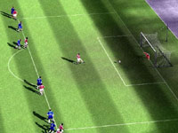 A crane shot of on-field action in FIFA Soccer 10