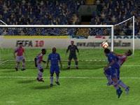 Heading a ball toward the goal in FIFA Soccer 10