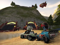 Racers jockeying for position heading towards power-up ramps in ModNation Racers