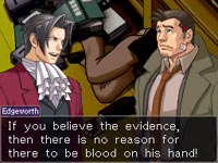 Miles Edgeworth and sidekick Gumshoe in Ace Attorney Investigations: Miles Edgeworth