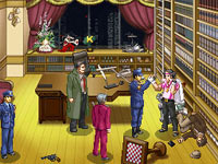Characters exploring a crime scene in Ace Attorney Investigations: Miles Edgeworth