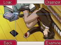 Searching a dead body for clues in Ace Attorney Investigations: Miles Edgeworth