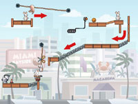 Platforming puzzle play in Rabbids Go Home for DS and DSi