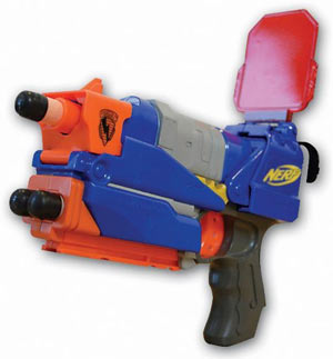 Blaster with decoder lense bundled with NERF: N-Strike Elite is comaptible with any game using the Wii Remote and doubles as a physical NERF gun