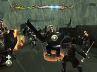 Targeting a Uruk-hai on the walls of Helm's Deep in The Lord of the Rings: Aragorn's Quest