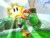Mario chasing a star atop Yoshi in Super Mario Galaxy 2