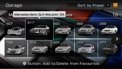 Garage screen in Gran Turismo for PSP