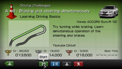 Single player oriented Challenges in Gran Turismo for PSP
