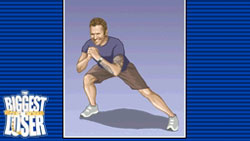 Bob Harper doing a stretch in Balance Board in The Biggest Loser for DS / DSi
