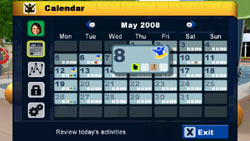Built in calendar for tracking goal progress in The Biggest Loser
