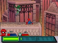 Spider-man battling Dr. Doom in action in Marvel Super Hero Squad