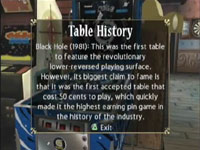 The in-game posted table history of the 'Black Hole' pinball game from Pinball Hall of Fame: The Gottlieb Collection