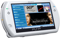 White PSP Go displaying the PlayStation Store