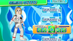 Costume selection options for imported Mii character in DanceDanceRevolution Hottest Party 3 Bundle