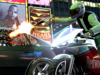 Motorcyclist shattering a car winshield with automatic gunfire in Grand Theft Auto: Episodes from Liberty City