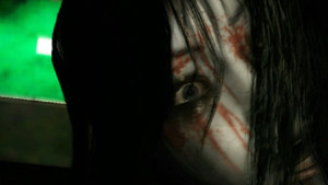 A frightening up-clise view of Kayako from Ju-On: The Grudge