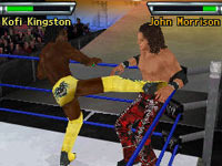 Kofi Kingston delivering a boot to the mid-section of John Morrison in WWE Smackdown vs Raw 2010 for DS and DSi