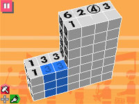 Numerical block orientation clues seen from above in Picross 3D