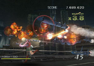Kachi evading a missle attack in Sin & Punishment: Star Successor