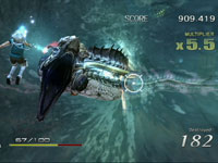 Taking aim at an underwater enemy from point-blank range in Sin & Punishment: Star Successor