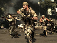Moving in formation through open territory in SOCOM 4: U.S. Navy SEALs