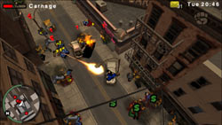 Using a flamethrower to take out rivals in Grand Theft Auto: Chinatown Wars for PSP