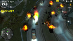 Using grenades in Rampage Mode in Grand Theft Auto: Chinatown Wars for PSP