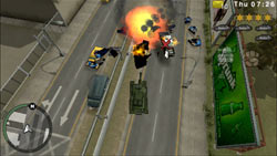Using a Liberty City Rhino Tank against enemies in Grand Theft Auto: Chinatown Wars for PSP