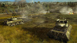 American tanks providing support for a pinned down infantry unit in 'Order of War'