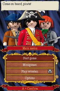 Main menu screen from Playmobil: Pirates