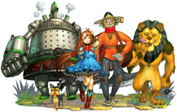 Dorothy with Toto, the Tin Man, the Scarecrow and the Cowardly Lion in The Wizard of Oz: Beyond the Yellow Brick Road