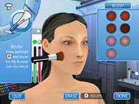 Hair and make-up screen in Project Runway the Video Game