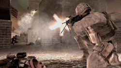A house-to-house fire fight in Call of Duty: Modern Warfare: Reflex