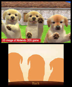 3 puppies vying for your attention by jumping on the 3DS screen in Nintendogs + Cats: Golden Retriever and New Friends
