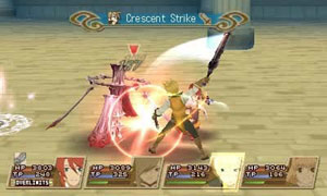 Luke fon Fabre landing a blow against an enemy in Tales of the Abyss for 3DS