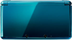 Closed Aqua Blue Nintendo 3DS showing the exterior two 3D camera array
