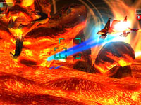 Using your hyper lasers during a boss battle in Star Fox 64 3D