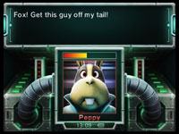 Fox McCloud's pal Peppy Hare calling for aid in Star Fox 64 3D
