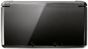 Closed Cosmo Black Nintendo 3DS showing the exterior two 3D camera array