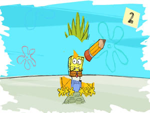 Using the uDraw GameTablet to create edit in SpongeBob SquigglePants for Wii