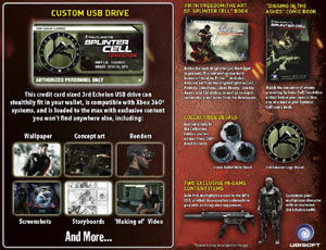 Contents of Tom Clancy's Splinter Cell: Conviction Collector's Edition for Xbox 360