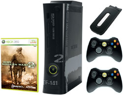 Xbox 360 'Modern Warfare 2' Limited Edition Console bundle showing console, game, hard drive and two controllers