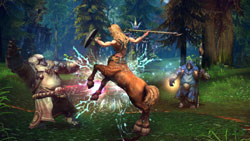 A Baraka warrior vs. a centaur in Tera